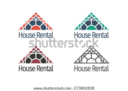Asian real estate logo templates set. Vector ethnic ornamental design for agency, house and apartment rental, construction services or apartment repairs. - stock vector