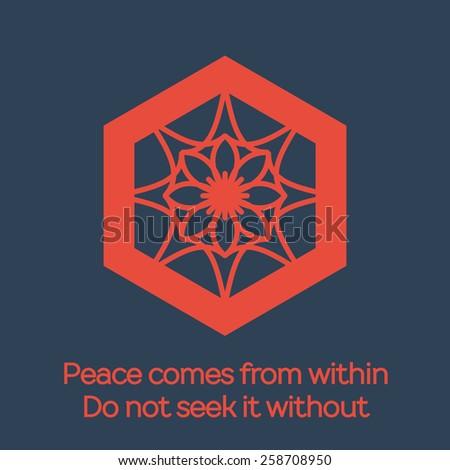 Asian religious hexagonal ornament. Vector flat mandala design - stock vector