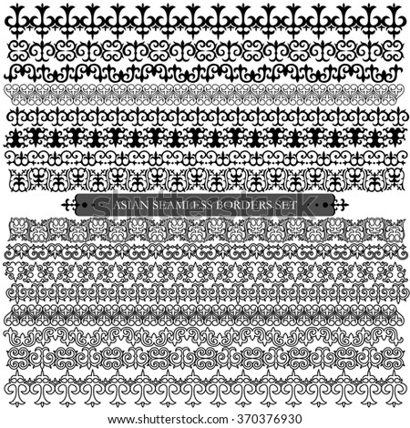 Asian set of eight patterns and ornaments. Set of seamless borders and brushes. Oriental, floral patterns, brush sets for design.