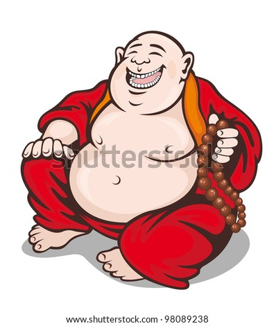 Asian smiling monk with rosary. Vector illustration - stock vector