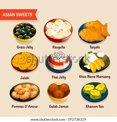 Asian sweets set traditional desserts chinese stock vector for Asian cuisine indian and thai food page