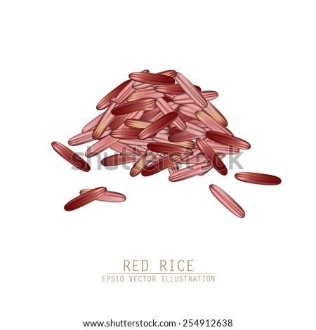 Asian traditional food of Japan, Korea and China. Vector illustration of red rice pile.  - stock vector