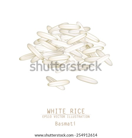 Asian traditional food of Japan, Korea and China. Vector illustration of white rice pile.  - stock vector