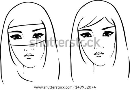 asian woman - stock vector