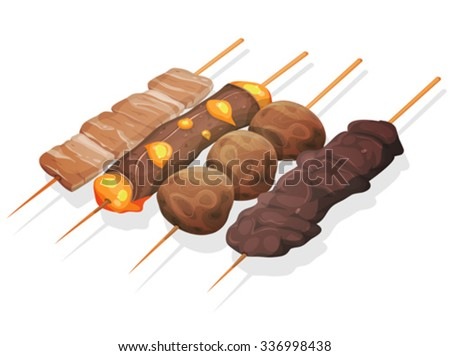 Asian Yakitoris Skewers Set/ Illustration of a set of appetizing cartoon yakitori skewers icons, with meat, beef and cheese, fried chicken croquettes, for asian fastfood and takeout restaurants - stock vector