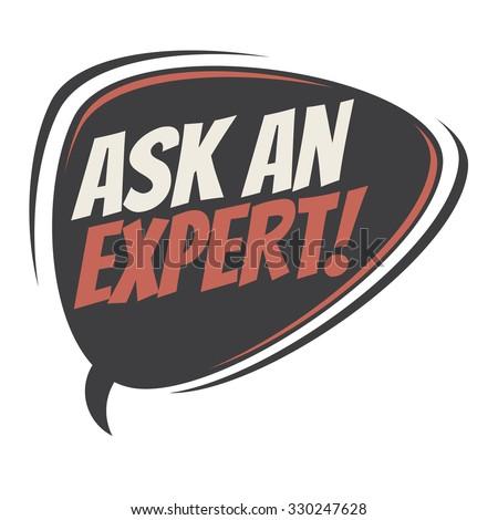 ask an expert retro speech bubble - stock vector