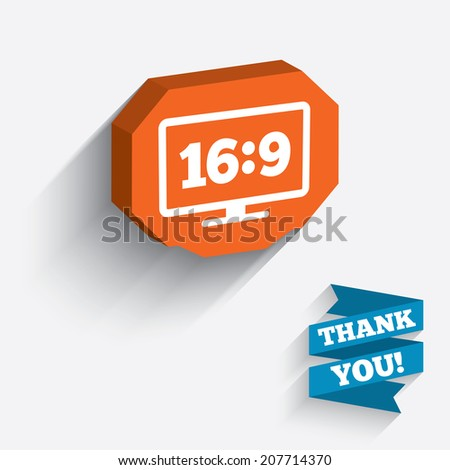 Aspect ratio 16:9 widescreen tv sign icon. Monitor symbol. White icon on orange 3D piece of wall. Carved in stone with long flat shadow. Vector - stock vector