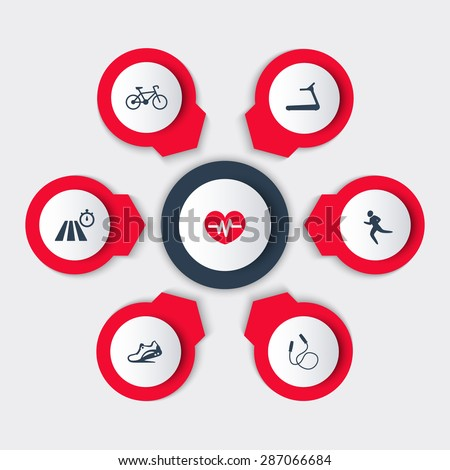 Aspects of Cardio Training round modern icons vector illustration, eps10, easy to edit - stock vector