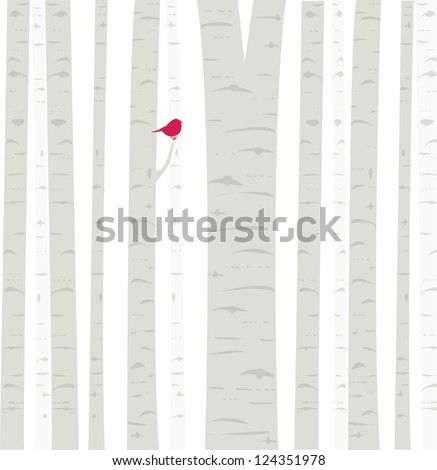 Aspen Birdie: a little red birdie perches among the trees in an Aspen grove. Fully editable vector illustration.