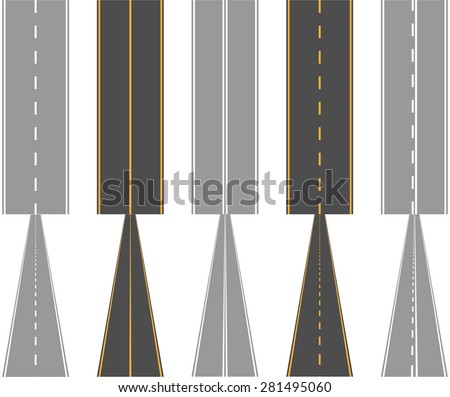 Asphalt roads, with traffic surface marking lines, normal and perspective view