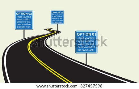 Asphalt winding road with road signs. Infographics template with winding road. Vector illustration. - stock vector