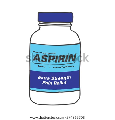 Aspirin Bottle for when you Get Hurt or Sick on the Job or Have Back Pain or Even a Simple Headache.  The Capsules, Gel Tabs, or Tablets will Make Feel Healthy and Strong.  The Drug Relieves Pain! - stock vector