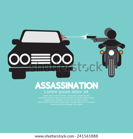 Assassination Shooting From The Motorcycle Vector Illustration - stock vector