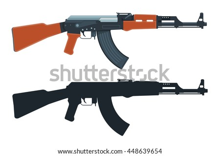 Assault rifle with combat knife / flat illustration / A vector illustration of a Kalashnikov AK-47 assault rifle. Kalashnikov AK-47 assault rifle Icon illustration. Weapon firearm terrorism concept