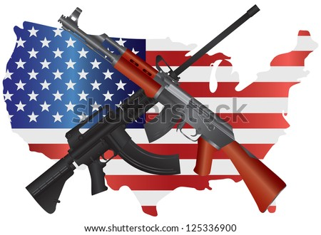 Assault Rifles Semi Automatic Weapons on USA - Second Amendment Constitution Illustration Vector - stock vector