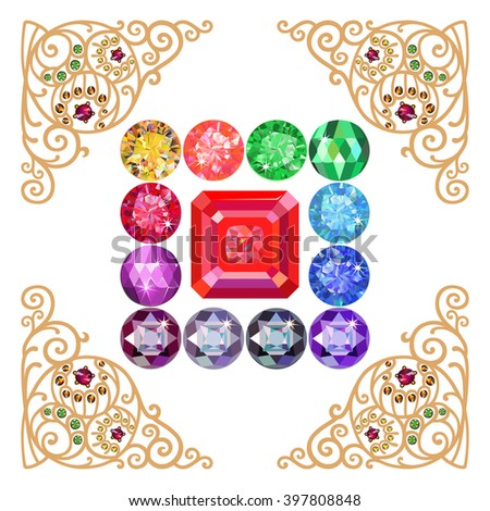 Asscher cut ruby encased in a squared frame of precious stones isolated on white background, vector illustration - stock vector
