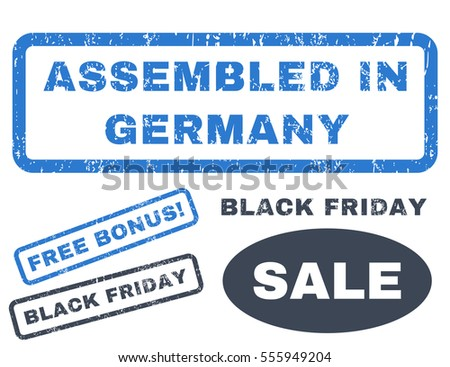 Assembled In Germany rubber seal stamp watermark with additional images for Black Friday sales. Vector smooth blue stickers. Tag inside rectangular banner with grunge design and scratched texture.