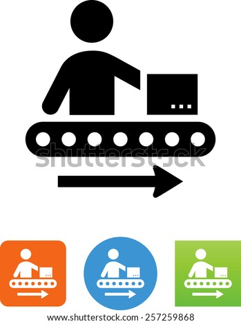 Assembly line symbol for download. Symbol for download. Vector icons for video, mobile apps, Web sites and print projects. - stock vector