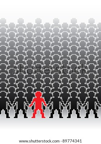 assembly of human pixel figures in a row - illustration - stock vector