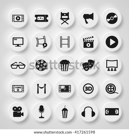 assembly of icons on the theme of cinema film multi-colored and black and white