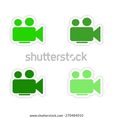assembly realistic sticker design on paper camera  - stock vector