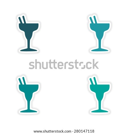 assembly realistic sticker design on paper cocktails  - stock vector
