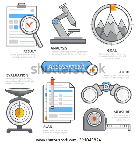 Assessment business design concept, evaluation, audit, measure, plan, result, analysis, goal development. Modern isolated vector illustration, Infographic template. - stock vector