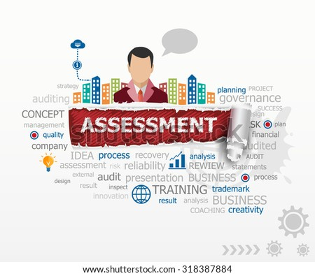 Assessment concept word cloud and business man. Assessment design illustration concepts for business, consulting, finance, management, career. - stock vector