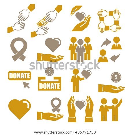 assist, help, kindness icon set - stock vector