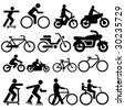 assorted bicycle moped motorcycle and skate board silhouettes - stock vector