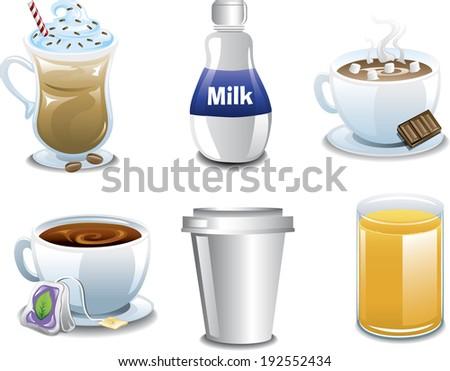 Assorted breakfast beverages. - stock vector