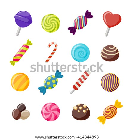 Assorted candies decorative flat icons set with twisted round sweets chococlates with nuts lollipops isolated vector illustration