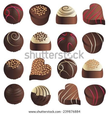 Assorted chocolates on a white background - stock vector