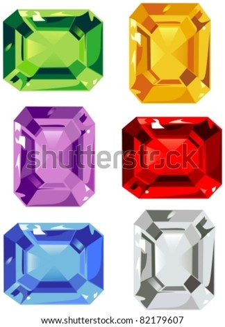 Assorted colorful gemstones - stock vector