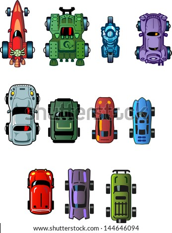 Assorted Cool Small Cartoon Cars and Vehicles for use as Assets in Computer Video Games, Top View - stock vector
