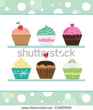 Assorted cupcakes - stock vector