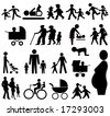assorted family silhouettes pram, grand parents, baby, pregnant woman - stock vector