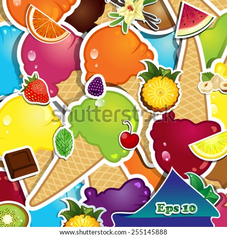 Assorted flavors of ice cream on summer-Transparency blending effects and gradient mesh-EPS 10 - stock vector