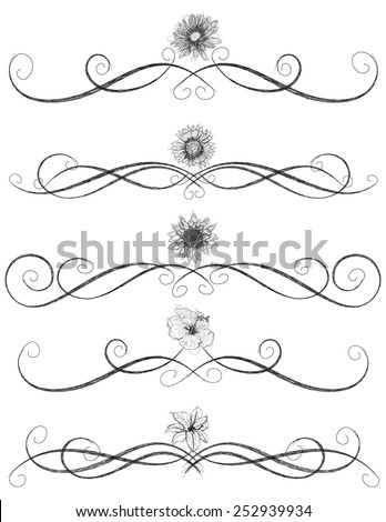 Assorted flower sketches with page rules - stock vector