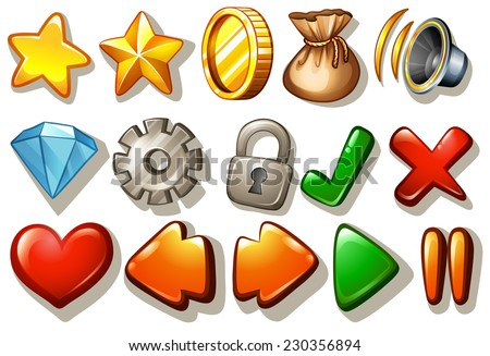 Assorted gaming design elements on white - stock vector