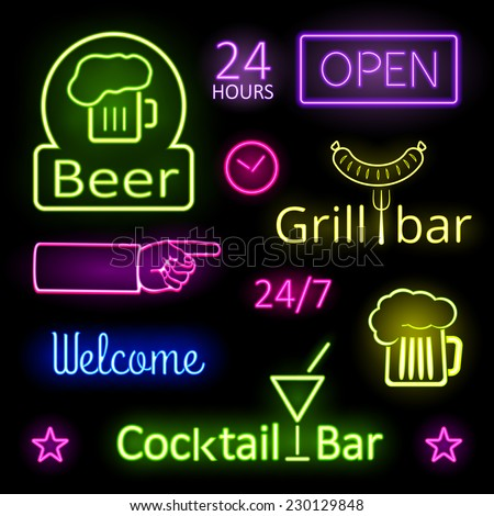 Assorted Glowing Colorful Neon Lights for Bar Signs on Black Background - stock vector