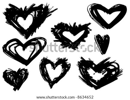 Assorted Grunge brush strokes of the heart symbols