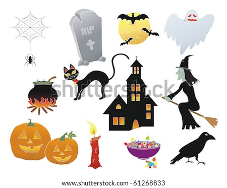 Assorted Halloween icons in a vector illustration - stock vector