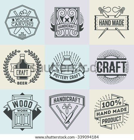 Assorted Hand Craft Insignias Logotypes Template Set. Line Art Vector Elements. - stock vector