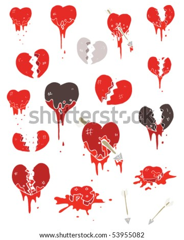 assorted hearts illustration - stock vector