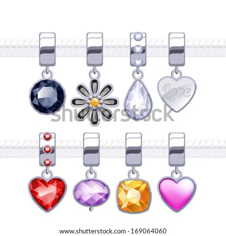 Assorted metal charm pendants for necklace or bracelet. - stock vector