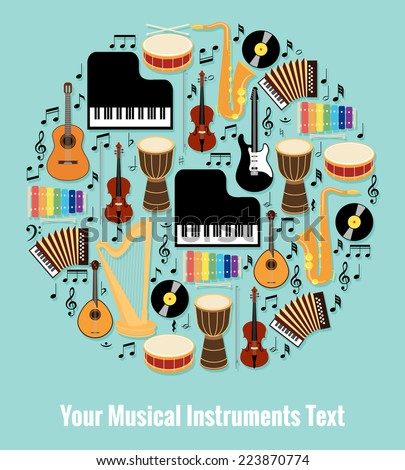 Assorted Musical Instruments Design Formed Round with Editable Text Area. Isolated on Light Blue Sky Background. - stock vector