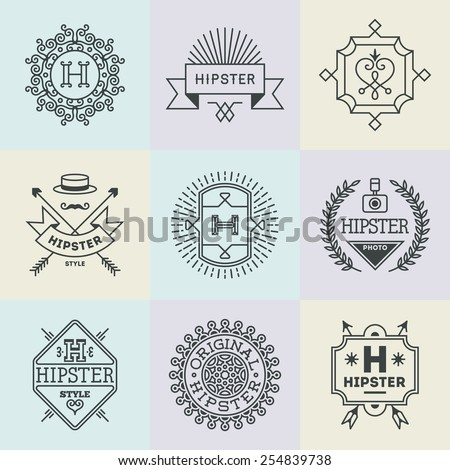 Assorted retro design hipster insignias logotypes set 1. Vector vintage elements. - stock vector