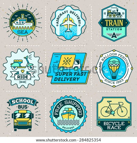 Assorted retro design insignias color transport logotypes set. Vector vintage elements. - stock vector
