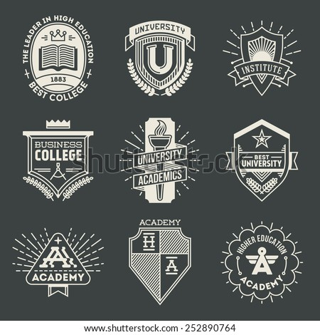 Assorted retro design insignias high education logotypes set 1. Vector vintage elements. - stock vector